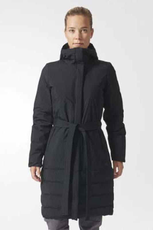 Пуховик женский Adidas Nuvic Jkt Long, цвет: черный. BS0973. Размер L (48/50)
