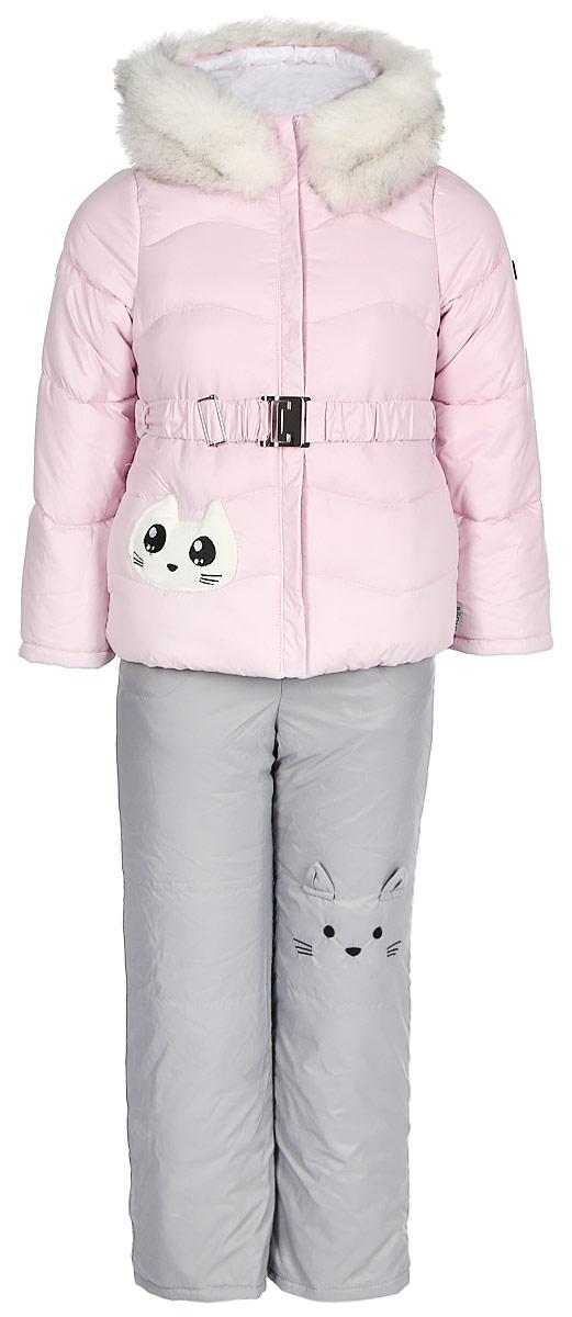 Комплект верхней одежды для девочки Boom!: куртка, полукомбинезон, цвет: розовый. 70464_BOG_вар.1. Размер 98, 3-4 года комплект верхней одежды для мальчика boom куртка брюки цвет синий черный 70335 bob вар 2 размер 98 3 4 года