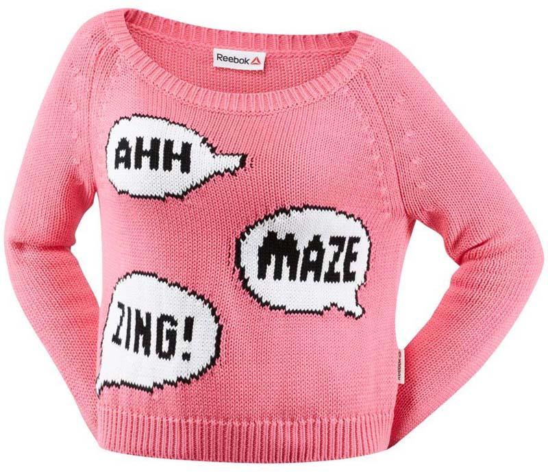 Свитер женский Reebok Y Sweater, цвет: розовый. S93821. Размер M (46/48)S93821Женский свитер Reebok изготовлен из полиэстера с добавлением хлопка. Свитер с длинными рукавами и круглым вырезом горловины оформлен спереди принтом. Воротник, манжеты рукавов и низ свитера дополнены рифлеными манжетами.