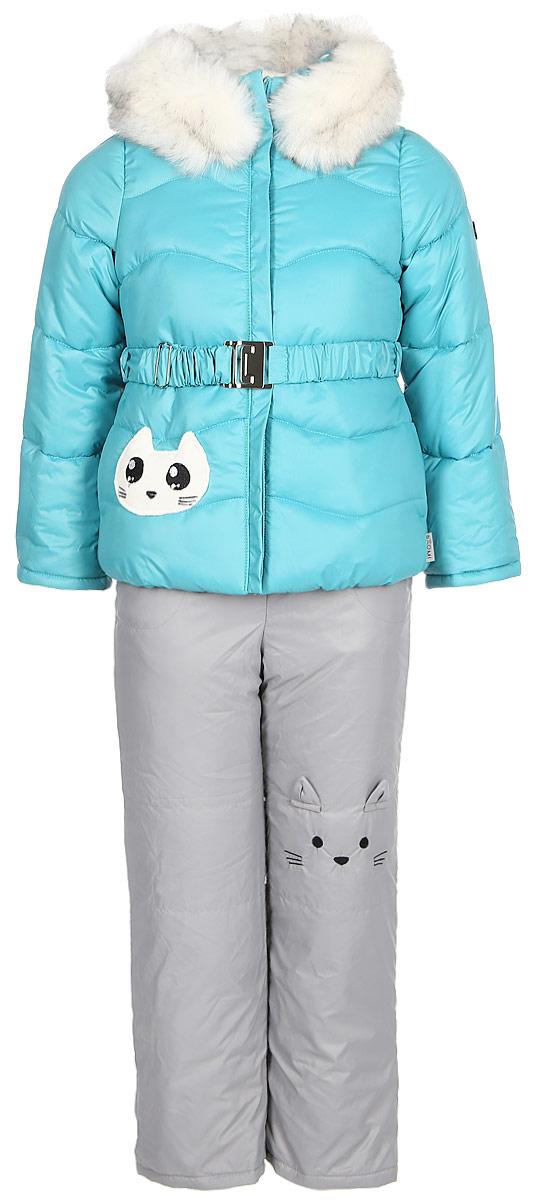Комплект верхней одежды для девочки Boom!: куртка, полукомбинезон, цвет: бирюзовый. 70464_BOG_вар.3. Размер 98, 3-4 года комплект верхней одежды для мальчика boom куртка брюки цвет синий черный 70335 bob вар 2 размер 98 3 4 года