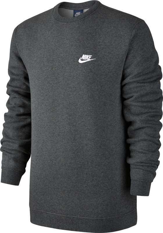 Свитшот мужской Nike Nsw Crw Flc Club, цвет: серый. 804340-071. Размер L (50/52)804340-071Мужской свитшот Nike Sportswear обеспечивает абсолютный комфорт без утяжеления. Модель выполнена из мягкой флисовой ткани с обновленной узкой нижней кромкой и манжетами для аккуратного вида. Мягкий и теплый флис с обратным начесом.
