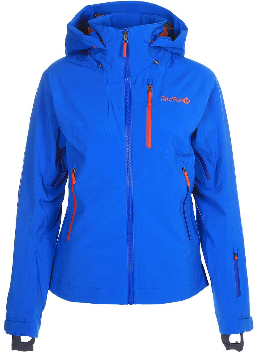 Куртка женская Red Fox, цвет: голубой. 1051610. Размер XS (42)1051610В моделях Voltage используется эксклюзивный утеплитель Thinsulate®FX70, который выполнен из эластичного синтетического волокна и ламинирован с ультралёгкой трикотажной подкладкой, что позволяет использовать меньшее количество слоев одежды. Изделия обладают свойствами климат-контроля, благодаря которым во время катания поддерживается оптимальная температура тела. Регулируемый в трех плоскостях капюшон с ламинированным козырьком совместим с каской. Центральная тракторная молния. Защита подбородка из микрофлиса. Вентиляция в подмышечной зоне на молнии со вставками из сетки. Односторонняя регулировка по низу изделия. Воротник-стойка продублирован микрофлисом. Снегозащитная юбка и нижняя часть подкладки куртки выполнены из влагостойкого материала. Эластичные внутренние манжеты с отверстием для большого пальца. Влагозащитные наружные молнии и проклеенные швы.