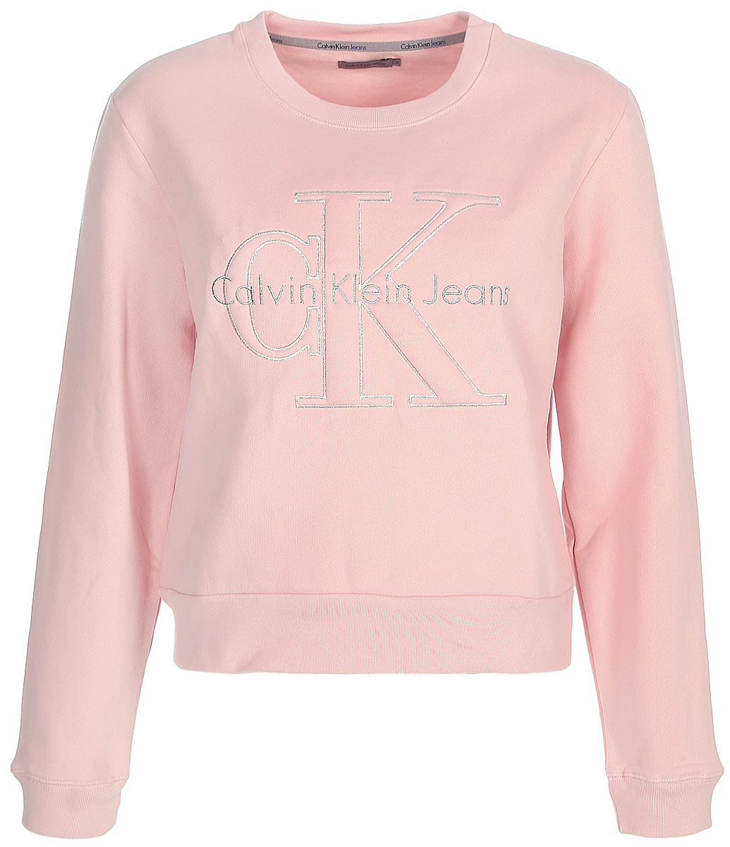 Джемпер женский Calvin Klein Jeans, цвет: розовый. J20J205649_6880. Размер S (42/44) calvin klein women s textured beaded ruched jersey dress 4 black