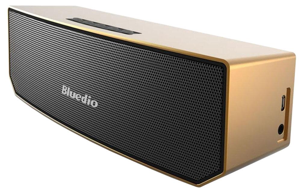 Bluedio BS-3, Gold беспроводная колонкаBS-3 goldБеспроводная колонка Bluedio BS-3 позволяет слушать вашу любимую музыку со смартфона с помощью подключения через Bluetooth, а также отвечать на звонки. Вы также можете подключить любой другой источник аудио через разъем 3,5 мм. 3D режим позволяет сделать басы намного больше. К каждому динамику добавлены 2 вспомогательных магнита, что способствует более точной передаче звуков. DSP-процессор имеет частоту дискретизации 24 бит/48 кГц, что позволяет качественно воспроизводить аудиотреки.Как выбрать портативную колонку. Статья OZON Гид