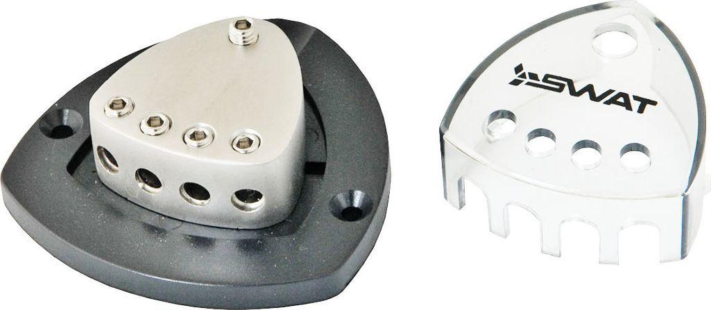 Дистрибьютор питания SWAT 4GAx1-> 8GAx4, цвет: светло-серыйSwat DBN-10автоаксессуары для подключения коммутация в автомобиле