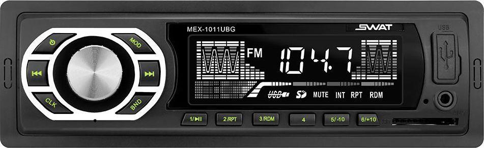 Медиа ресивер SWAT MEX-1011UBG/1 din, цвет: черный, зеленый, 2х35 Вт, MP3, USB, SDSWAT MEX-1011UBGАвтомобильный ресивер