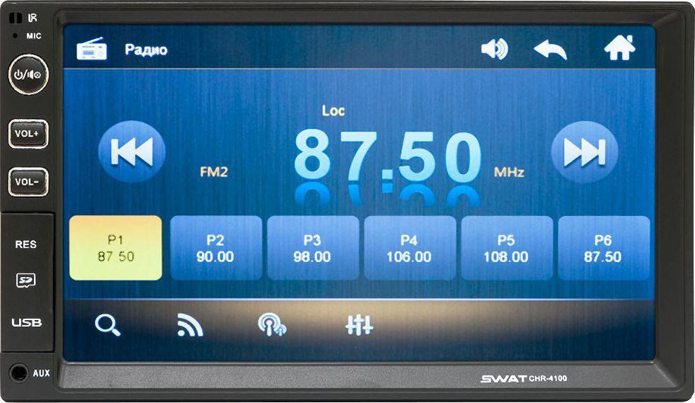 Мультимедиа ресивер SWAT CHR-4100/2 din, цвет: черный, 4х50 Вт, MP3, USB, SD, BT, 7SWATCHR-4100Мультимедийный автомобильный ресивер