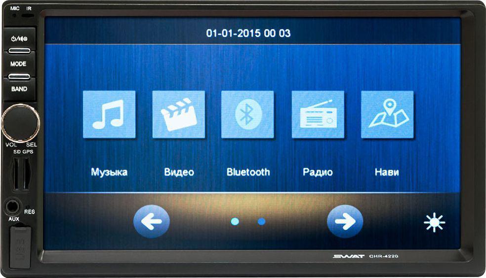 Мультимедиа ресивер SWAT CHR-4220/2 din, цвет: черный, синий, 4х50 Вт, MP3, USB, SD, BT, 7SWATCHR-4220Мультимедийный автомобильный ресивер