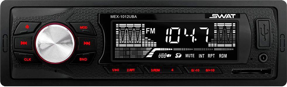 Медиа ресивер SWAT MEX-1012UBA/1 din, цвет: черный, красный, 2х35 Вт, MP3, USB, SDSWATMEX-1012UBAАвтомобильный ресивер