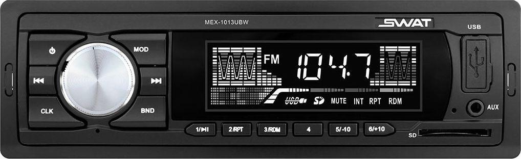 Медиа ресивер SWAT MEX-1013UBW/1 din, цвет: черный, белый, 2х35 Вт, MP3, USB, SDSWATMEX-1013UBWАвтомобильный ресивер