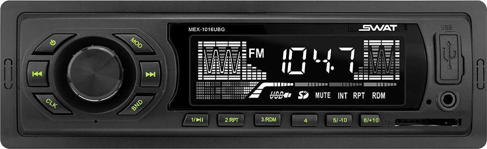 Медиа ресивер SWAT MEX-1016UBG/1 din, цвет: черный, зеленый, 4х50 Вт, MP3, USB, SDSWATMEX-1016UBGАвтомобильный ресивер