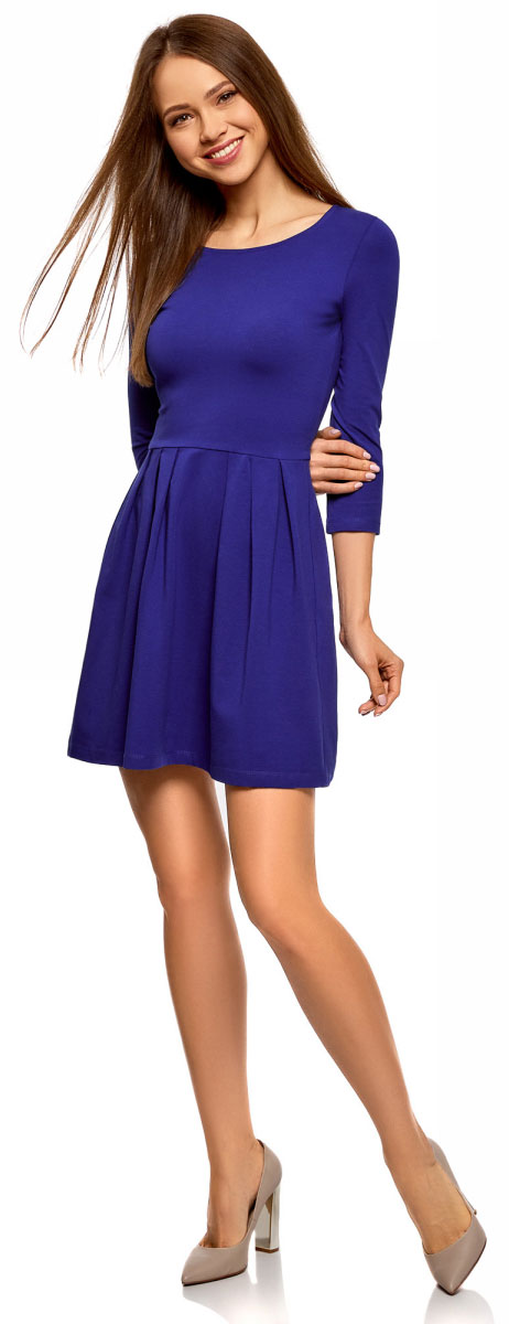 Платье oodji Ultra, цвет: синий, розовый. 14011005-3B/46148/7504N. Размер S (44)14011005-3B/46148/7504NПлатье от oodji выполнено из эластичного хлопкового трикотажа. Модель с рукавами 3/4 и круглым вырезом горловины дополнена отрезной юбкой со складками.