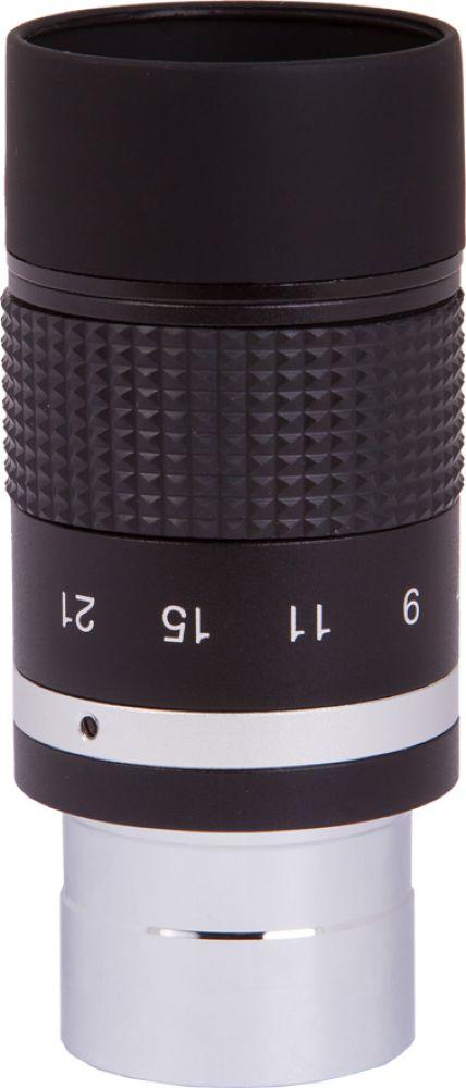 Sky-Watcher Zoom окуляр 7-21 мм67878Sky-Watcher Zoom 7–21 мм – это качественный окуляр с переменной кратностью. Данная модель универсальна и может заменить собой несколько окуляров с постоянным фокусным расстоянием. Благодаря продуманной конструкции при смене кратности фокусировка не сбивается.На специальной шкале, нанесенной на корпус, отмечены значения фокусного расстояния. Чем больше фокусное расстояние, тем ниже увеличение и шире поле зрения.