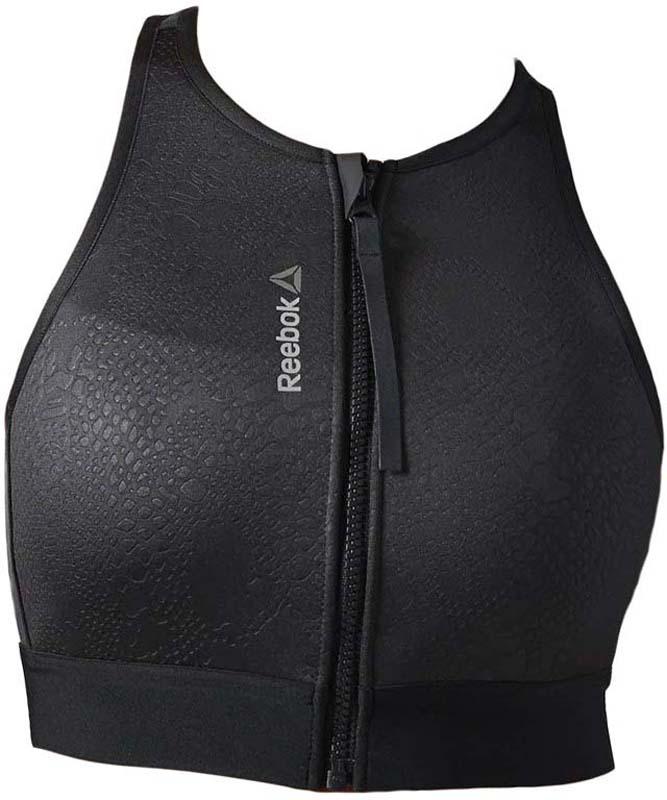 Топ-бра женский Reebok C Zip Bra, цвет: черный. S93752. Размер M (46/48)S93752Спортивный топ-бра Reebok изготовлен из полиэстера с добавлением эластана и застегивается спереди на молнию. Модель отлично поддерживает грудь и защищает от запаха.