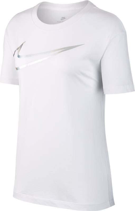 Футболка женская Nike Nsw Tee Swoosh Metallic, цвет: белый. 895259-100. Размер L (48/50) сумка nike club team swoosh duff l nike