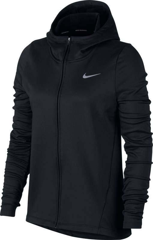 Худи для бега женское Nike Nk Thrma Hoodie Core Warm, цвет: черный. 856161-010. Размер XS (40/42)856161-010Женское беговое худи Nike Therma облегающего кроя выполнено из мягкой влагоотводящей ткани с отверстиями для больших пальцев и капюшоном особой конструкции для защиты на дистанции. Ткань Nike Therma сохраняет тепло. Облегающий крой не пропускает холодный воздух. Длина изделия ниже бедер. Светоотражающие элементы обеспечивают безопасность в темное время суток.