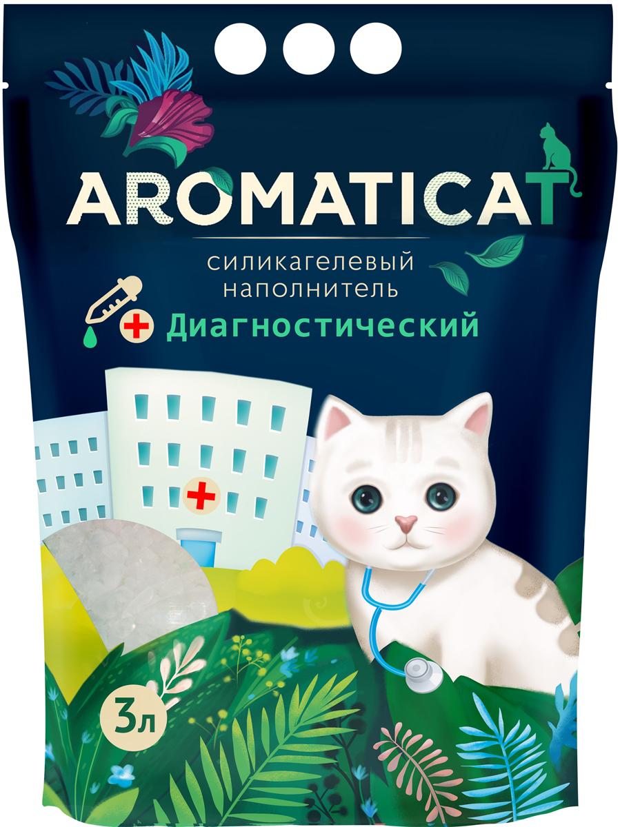 Силикагелевый наполнитель Aromaticat, диагностический, с гранулами-индикаторами pH, 3 л наполнитель для кошачьих туалетов sepicat fresh комкующийся облегченный классический 10 л