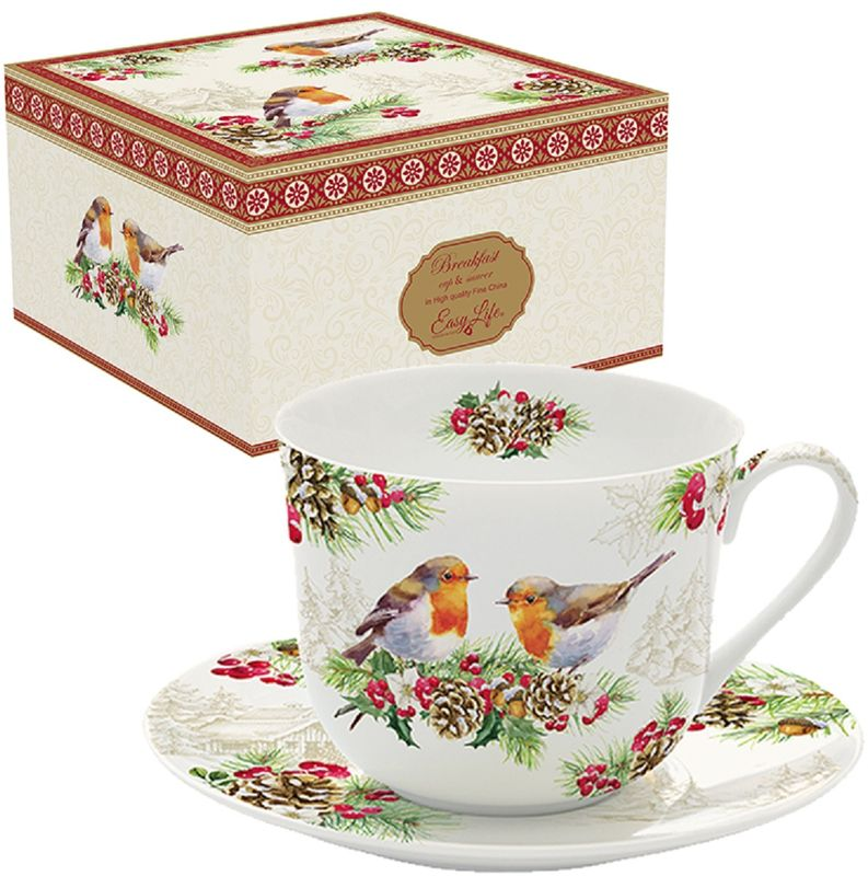 Чайная пара Easy Life Снегирь, 400 мл1454WIROКружка в подарочной упаковке прекрасный подарок для родных и близких.