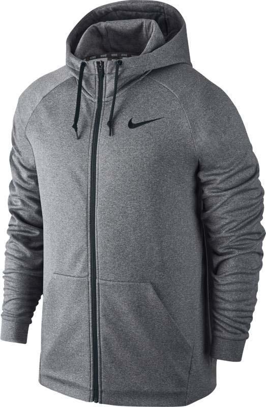 Худи для фитнеса мужское Nike Therma Training Hoodie, цвет: серый. 800187-091. Размер M (46/48)800187-091Мужское худи Nike выполнено из мягкого и легкого материала. Модель с длинными рукавами-реглан и капюшоном спереди застегивается на молню. Ткань Nike Therma регулирует выделяемое телом тепло для защиты от холода. Полноразмерная молния удобна для переодевания. Водолазный капюшон , состоящий из трех панелей, защищает от непогоды. Карман для рук кенгуру с подкладкой увеличен до нижней кромки в современном стиле.