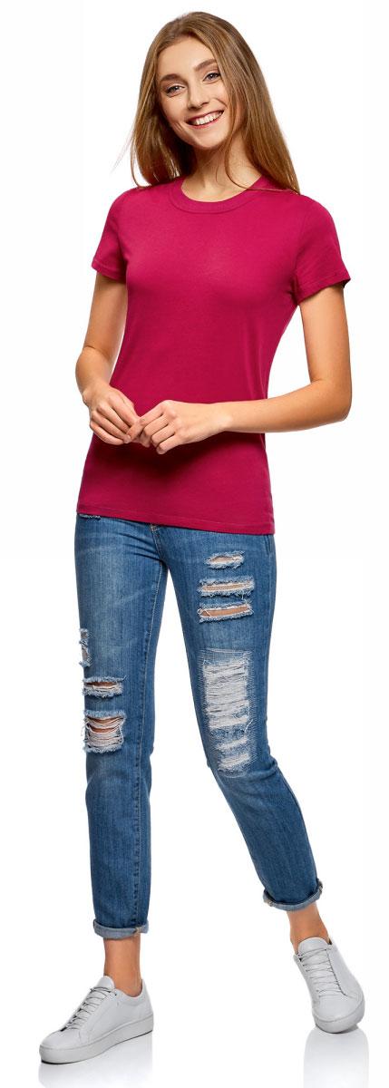 Футболка женская oodji Ultra, цвет: ягодный. 14701078B/48005/4C00N. Размер XL (50)14701078B/48005/4C00NОднотонная женская футболка, выполненная из натурального хлопка, незаменимая вещь любого гардероба. Модель с короткими рукавами и круглым вырезом горловины. Горловина дополнена трикотажной резинкой, что предотвращает деформацию при носке.