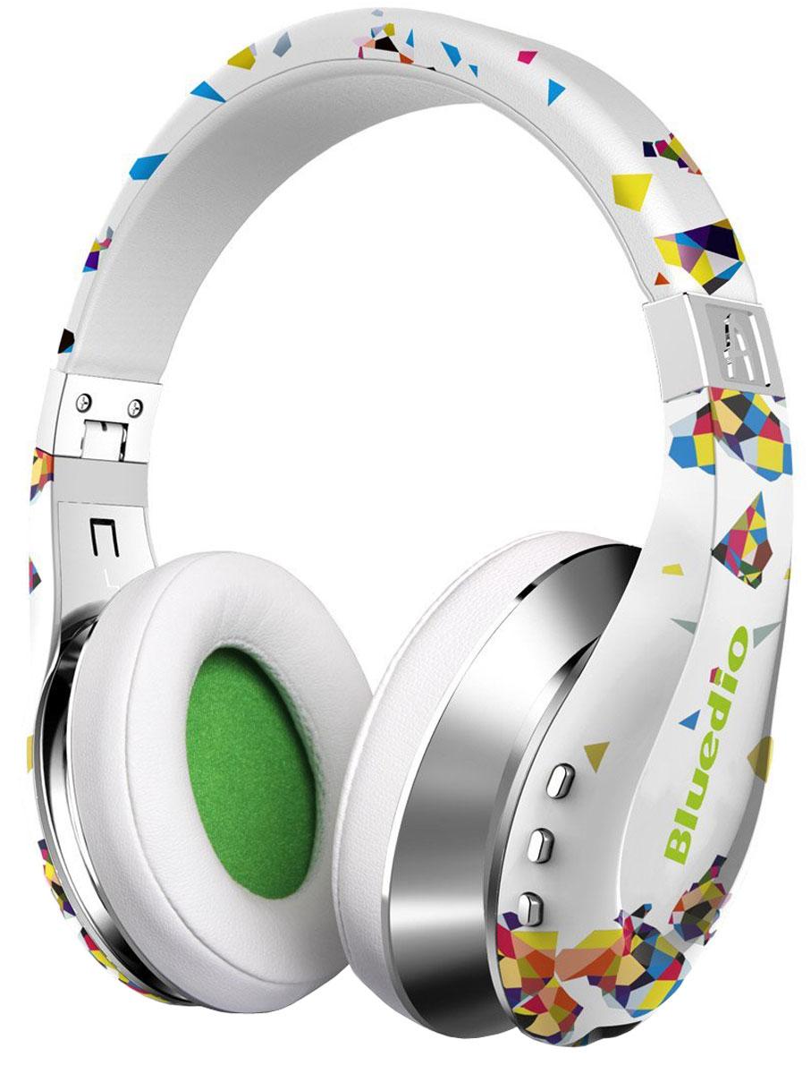 Bluedio A Air, White беспроводные наушникиA Air whiteБеспроводные наушники с микрофоном Bluedio A Air можно подключать к мобильным устройствам благодаря технологии Bluetooth 4.1. Гарнитура работает от встроенного аккумулятора, которого хватит на 25 часов прослушивания музыки. Удобное широкое оголовье можно регулировать, а складная конструкция позволяет хранить или перевозить наушники в чехле. При желании их можно подключить к источнику аудио с помощью комплектного кабеля с разъемом 3.5 мм. Управление функциями осуществляется с помощью кнопок, расположенных на правой чашке наушников.Функция 3D SoundВремя зарядки аккумулятора: 2 часа
