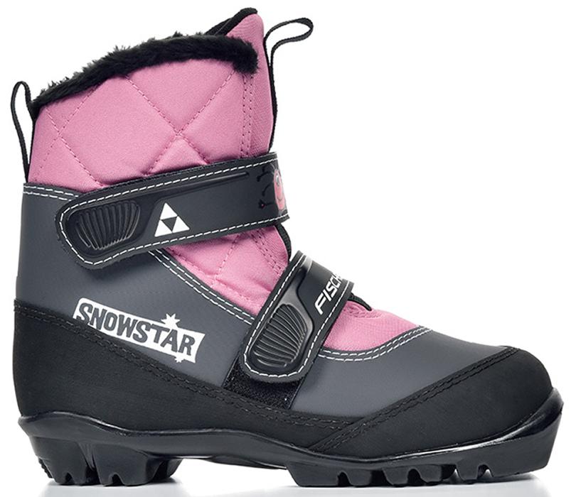 Ботинки лыжные детские Fischer Snowstar, цвет: розовый, серый, черный. Размер 28S41117Лыжные детские ботинки Fischer Snowstar предназначены для самых маленьких лыжников. Ботинки выполнены из искусственной кожи и текстиля. Мягкая подошва обеспечит комфорт. Водоотталкивающий утеплитель Comfort Guard дополнительно защищает от холода и влаги, удобная застежка-липучка облегчает надевание. В ботинках удобно не только кататься, но и гулять, играть. Как выбрать лыжи ребёнку. Статья OZON Гид