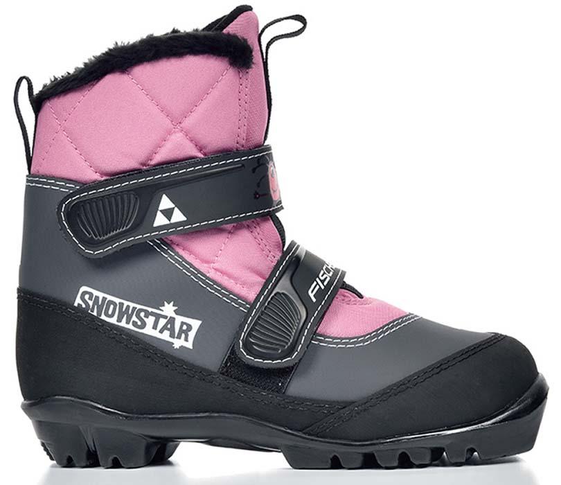 Ботинки лыжные детские Fischer Snowstar, цвет: розовый, серый, черный. Размер 30S41117Лыжные детские ботинки Fischer Snowstar предназначены для самых маленьких лыжников. Ботинки выполнены из искусственной кожи и текстиля. Мягкая подошва обеспечит комфорт. Водоотталкивающий утеплитель Comfort Guard дополнительно защищает от холода и влаги, удобная застежка-липучка облегчает надевание. В ботинках удобно не только кататься, но и гулять, играть. Как выбрать лыжи ребёнку. Статья OZON Гид