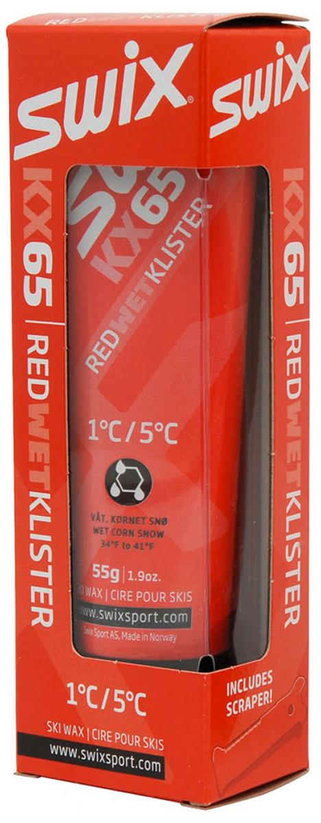 Клистер Swix KX65 Red, со скребком, цвет: красный, 55 гKX65Красный клистер +1°C… +5°C. Упаковка 55 гДля влажного и мокрого крупнозернистого снега. В комплекте со скребком.Синтетическая смола, синтетическая резина, фармацевтические масла.