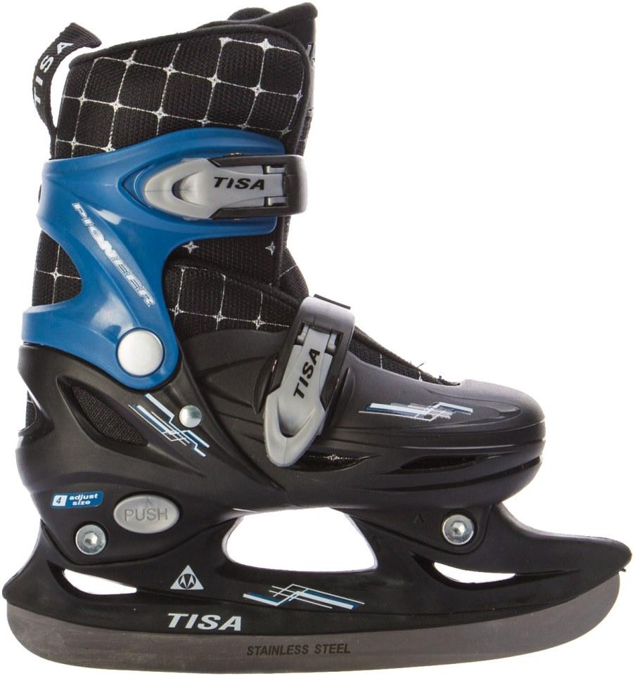 Коньки раздвижные Tisa Detroit, цвет: черный. Размер 30/33H04617Коньки раздвижные TISA предназначены для игры в хоккей на открытых и закрытых площадках и комфортного катания. Оригинальный дизайн подкреплен отличными эксплуатационными характеристиками.Конструкция: Лезвие: нержавеющая сталь; Низкопрофильная подошва; Комфортный лайнер из синтетического материала; Усиленная конструкция ботинка и языка.