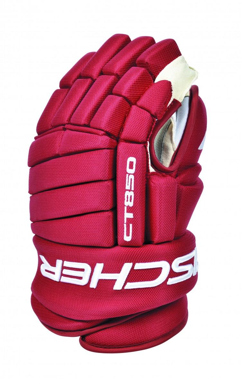 """Перчатки хоккейные Fischer """"CT850 SR"""" анатомической конструкции с 4 роллами. Фиксация  большого пальца Hyperlock. Ладошка выполнена из синтетической кожи Clarino Nash.  Вентилируемая подкладка BNT. Профессиональное качество."""