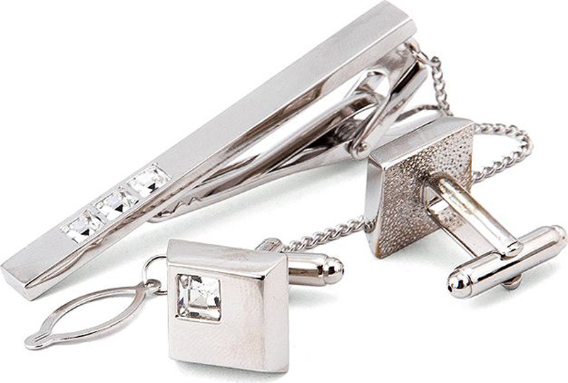 Подарочный набор мужской Greg: зажим для галстука, запонки, цвет: серебристый. 155753/Set