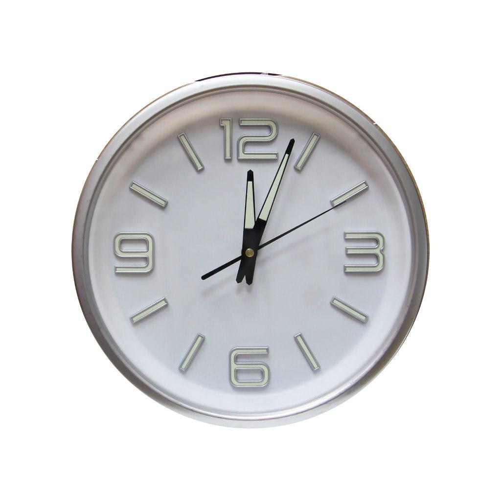 Часы настенные Arte Nuevo, со светящимися чифрами и стрелками, диаметр 30 смEG6911A-XG1/1Часы настенные Arte Nuevo станут изюминкой в дизайне интерьера вашегодома. Часы имеют три стрелки - часовую, минутную и секундную. Часовой механизм сзадизакрыт пластиковым корпусом. Предусмотрено отверстие для крепления настену. Диаметр часов: 30 см.