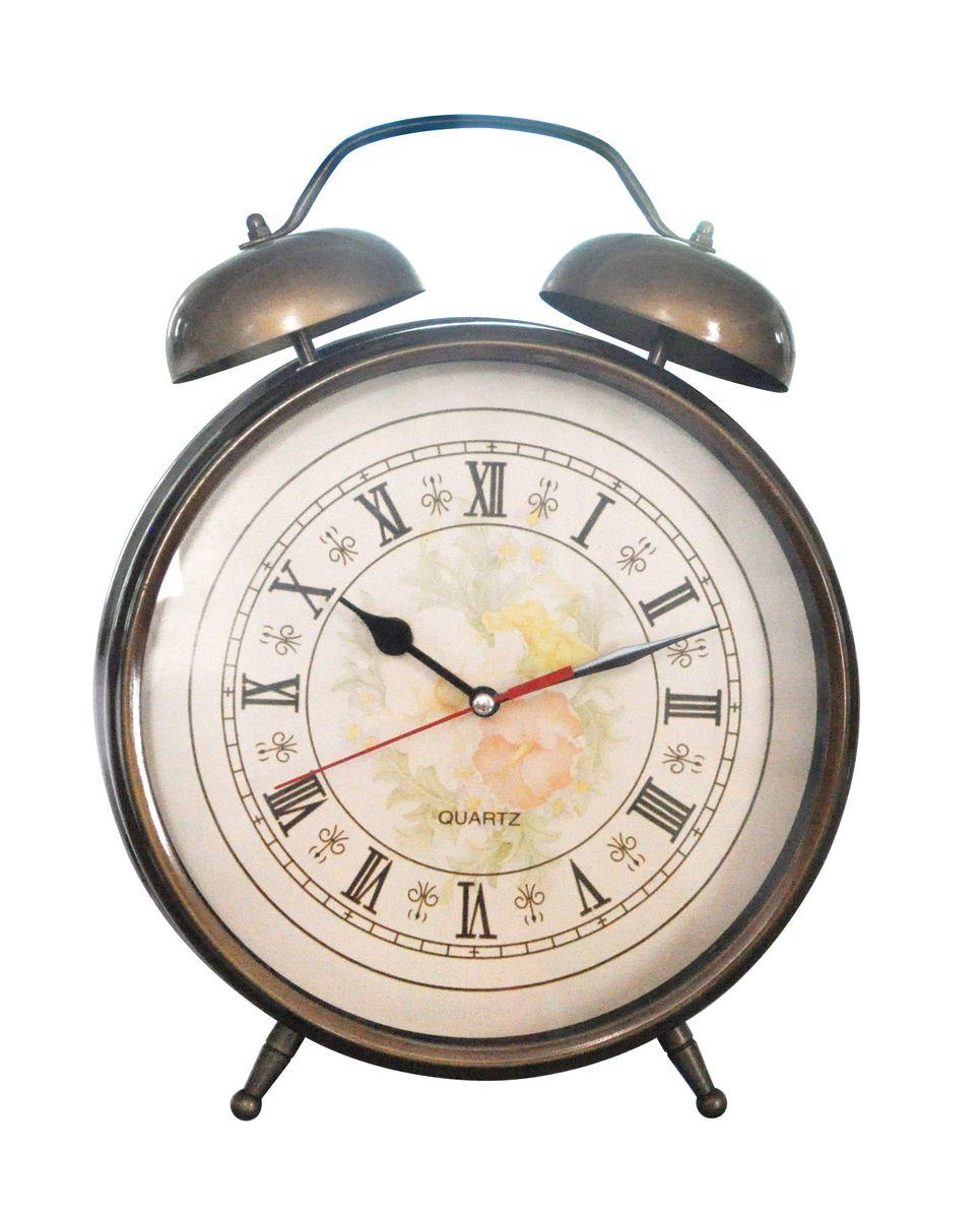 Будильник Arte Nuevo, 11,8 х 17 см. EG7003C-G/1EG7003C-G/1Будильник Arte Nuevo - одна из тех деталей, которые придают дому обжитой вид и создают ощущение уюта. Корпус изделия выполнен из высококачественного металла с эффектом состаренности. Циферблат имеет минутную, часовую и секундную стрелки. Сверху будильника расположены 2 звоночка. Часы работают от батарейки типа АА (не входит в комплект).