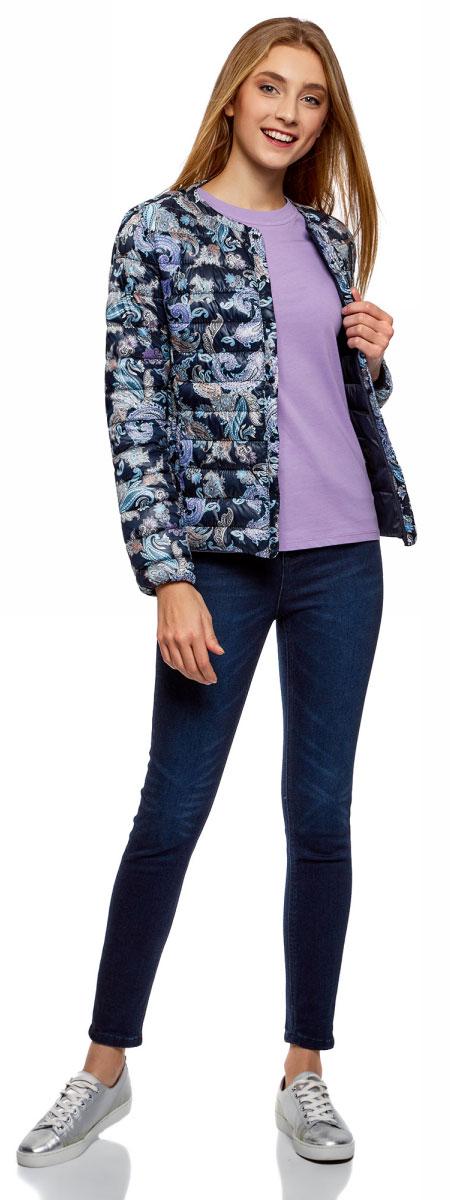 Футболка женская oodji Ultra, цвет: сиреневый. 14701078B/48005/8000N. Размер XL (50)14701078B/48005/8000NОднотонная женская футболка, выполненная из натурального хлопка, незаменимая вещь любого гардероба. Модель с короткими рукавами и круглым вырезом горловины. Горловина дополнена трикотажной резинкой, что предотвращает деформацию при носке.