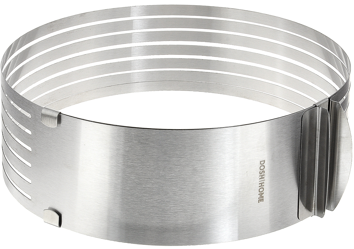 Форма для торта Dosh Home Gemini, круглая, регулируемая, диаметр 24 см300309Форма для торта Dosh Home Gemini позволяет приготовить торт диаметром от 24 см до 30 см. С помощью этой формы вы можете нарезать семь коржей одинаковой толщины. Для этого имеются прорези для ножа. Форма легко и быстро расширяется и подстраивается под нужный размер.Важно: для выпекания тесто должны быть туго замешанным.Изделие выполнено из высококачественной нержавеющей стали. Подходит для электрических, газовых и конвекторных духовок, можно мыть в посудомоечной машине.Диаметр: 24 см.