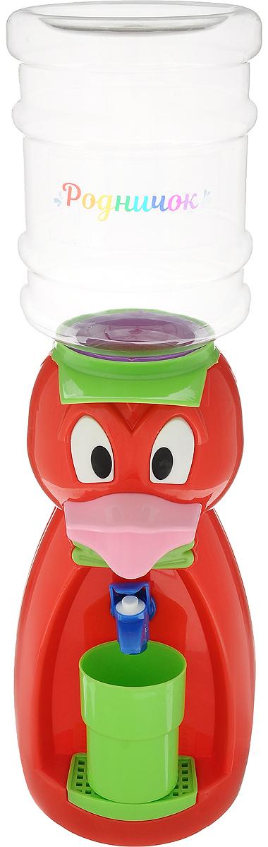 Мини-кулер для воды и сока Родничок Утка, цвет: красный, 2 л111370Мини-кулер для воды и сока Родничок Утка выполнен из экологически чистого пластика. Изделие не греет и не охлаждает воду, поэтому вы можете не беспокоиться, что ребенок обожжется или простудит горло. Соки, компоты, отвары трав в этом кулере будут для малыша более привлекательны, чем лимонад и другие вредные для организма напитки. Бутылка легко снимается, моется и наполняется. Кулер полностью механический, благодаря чему его можно спокойно ставить в детскую. За счет конструкции в напиток или воду не попадет пыль. Изделие легкое и компактное, поэтому его можно взять с собой на дачу или на пикник. Яркий дизайн, сочные цвета и веселый персонаж сделают такой кулер украшением стола на детском празднике. В комплект входит стакан. Высота мини-кулера (с учетом бутылки): 49 см Размер стаканчика: 6,5 х 5 х 8,5 см Высота бутылки: 18 см.Объем бутылки: 2 л.