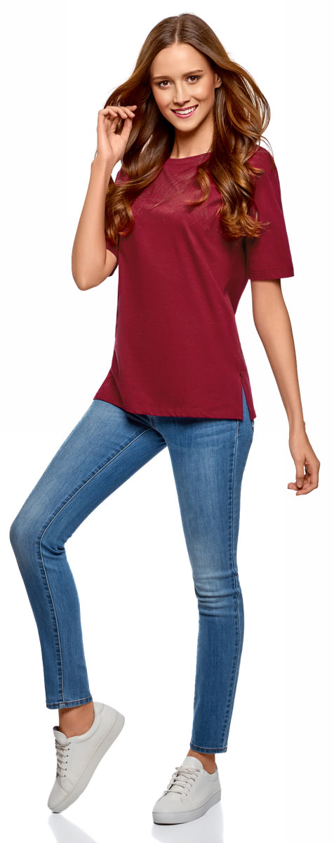 Футболка женская oodji Ultra, цвет: бордовый. 14708022B/48005/4901N. Размер S (44) футболка женская oodji ultra цвет бледно сиреневый 14708022b 48005 8002n размер xxl 52