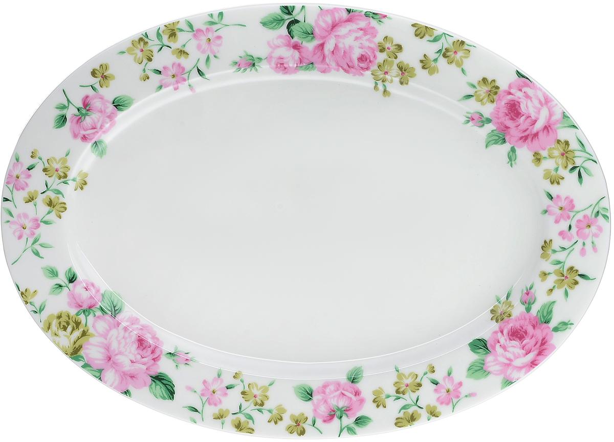 """Блюдо Royal Aurel """"Прованс"""", изготовленное из костяного фарфора, станет достойным украшением вашего стола. Оно предназначено для  красивой сервировки стола.  Изящный дизайн придется по вкусу и ценителям классики, и тем, кто предпочитает утонченность и  изысканность.   Размеры: 31 х 22 х 1,5 см"""