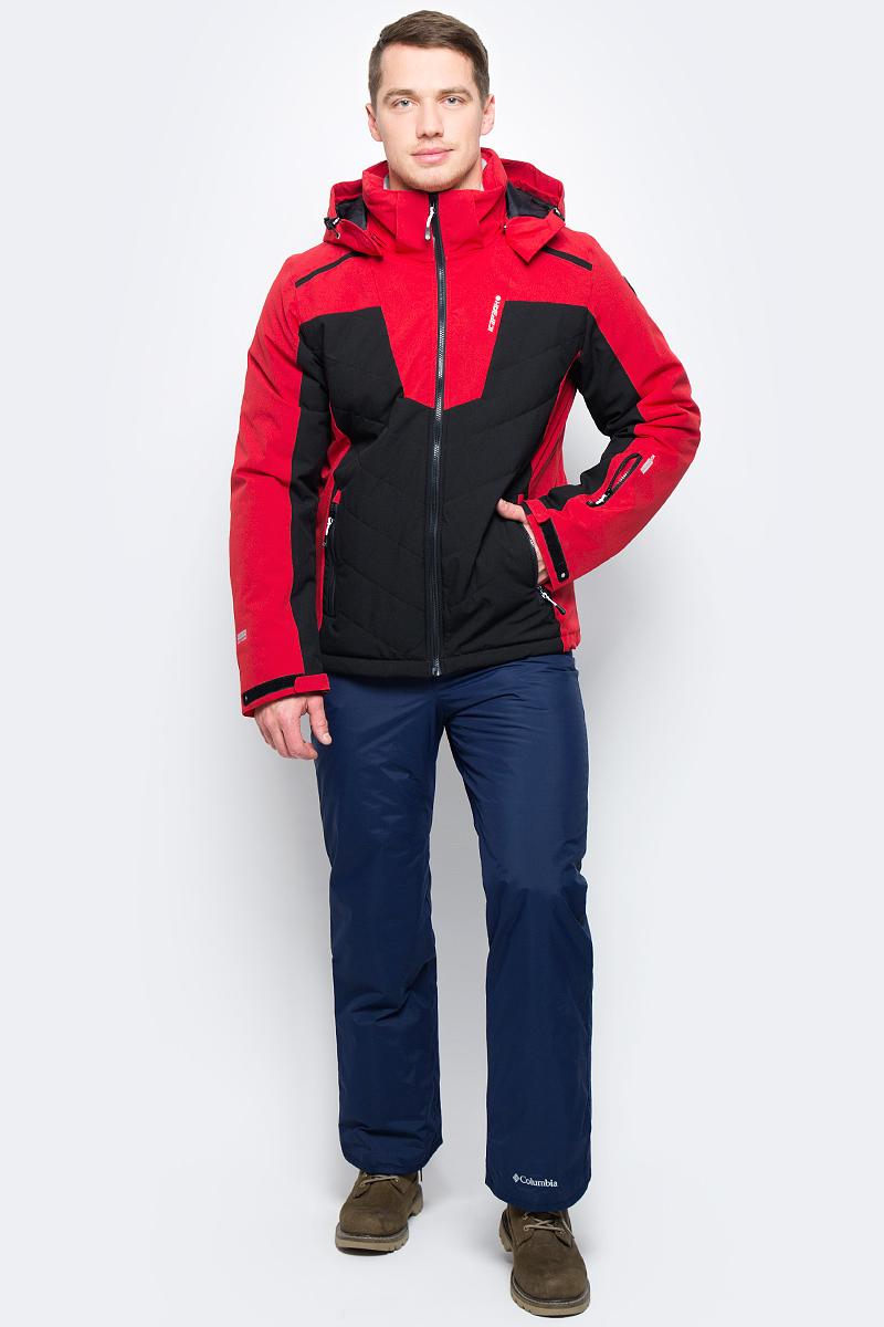 Куртка мужская Icepeak, цвет: красный. 856119839IV_646. Размер 48856119839IV_646Мужская горнолыжная куртка Icepeak для активного зимнего отдыха. Синтетический материал верха с показателями водонепроницаемости 10 000 мм и воздухопроницаемости5 000г/м2 /24 ч. Проклеенные швы предотвращают попадание влаги внутрь. В качестве утеплителя используется синтетический материал FinWad (100 гр).Модель прямого силуэта со съемным капюшоном застегивается на молнию с внутренней ветрозащитной планкой. Снегозащитная юбка предотвратит попадание снега внутрь при падении. Манжеты с хлястиками для регулировки ширины. Эффективные светоотражатели позволят чувствовать себя в безопасности в любых погодных условиях, особенно в темное время суток. Боковые карманы и карман для ски-пасс для размещения необходимых на склоне вещей.
