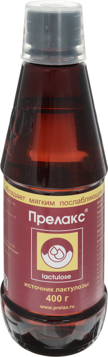 Прелакс сироп флакон 400г200032БАД Прелакс рекомендована в качестве биологически активной добавки к пище - источника лактулозы. Сфера применения: ГастроэнтерологияЛечение запоров