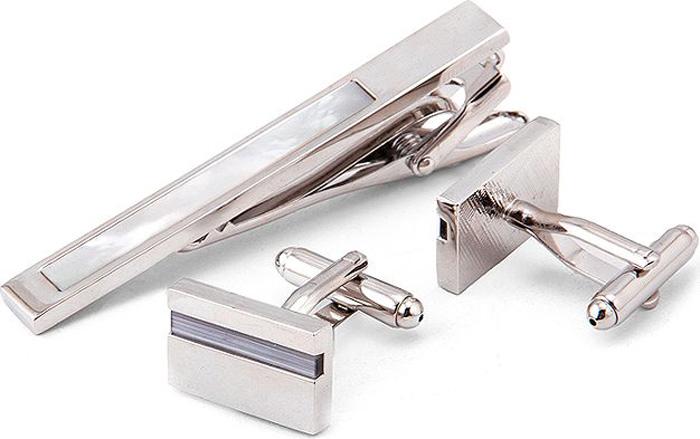 Подарочный набор мужской Greg: зажим для галстука, запонки, цвет: серебристый. 170774/Set
