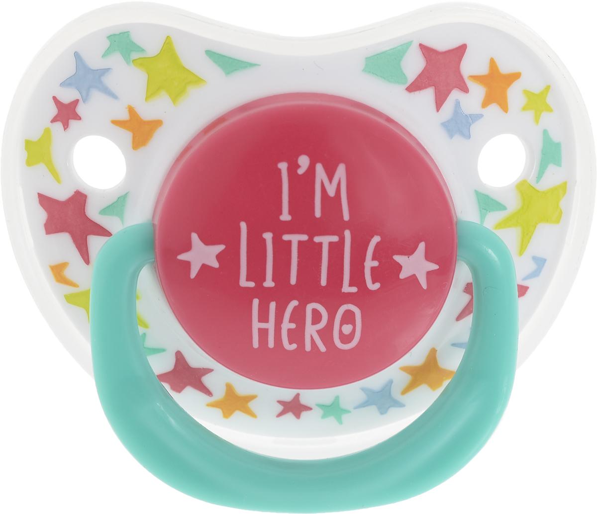 Happy Baby Соска-пустышка силиконовая с колпачком Я герой от 0 до 12 месяцев