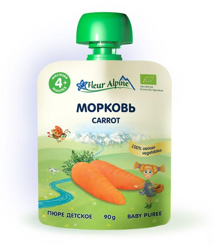 Флёр Альпин Органик пюре морковь, 4 мес, 90 г любовь морковь
