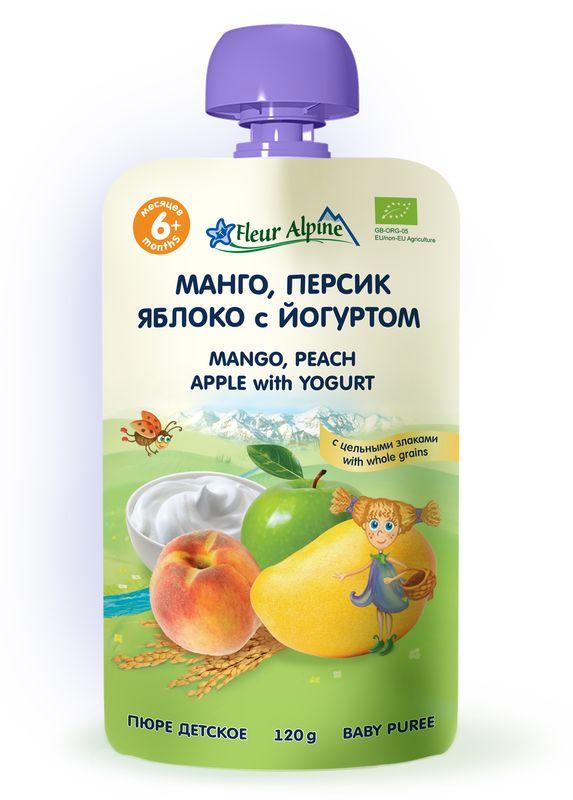 Флёр Альпин Органик пюре манго-персик-яблоко-йогурт, 6 мес, 120 г персики в сиропе vitaland 850мл