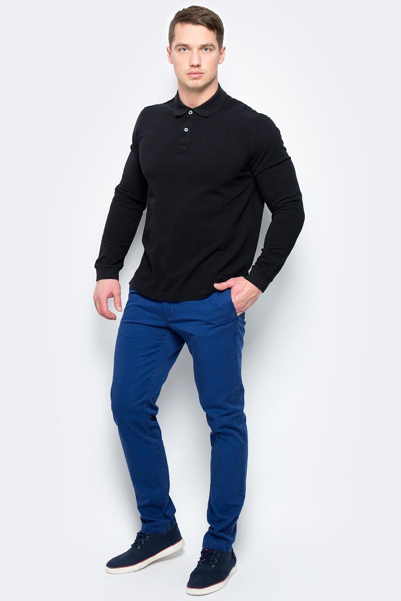 Поло муж United Colors of Benetton, цвет: черный. 3089J3078_100. Размер L (50/52)3089J3078_100Поло с длинным рукавом мужское United Colors of Benetton выполнено из натурального хлопка. Модель с отложным воротником застегивается на пуговицы.