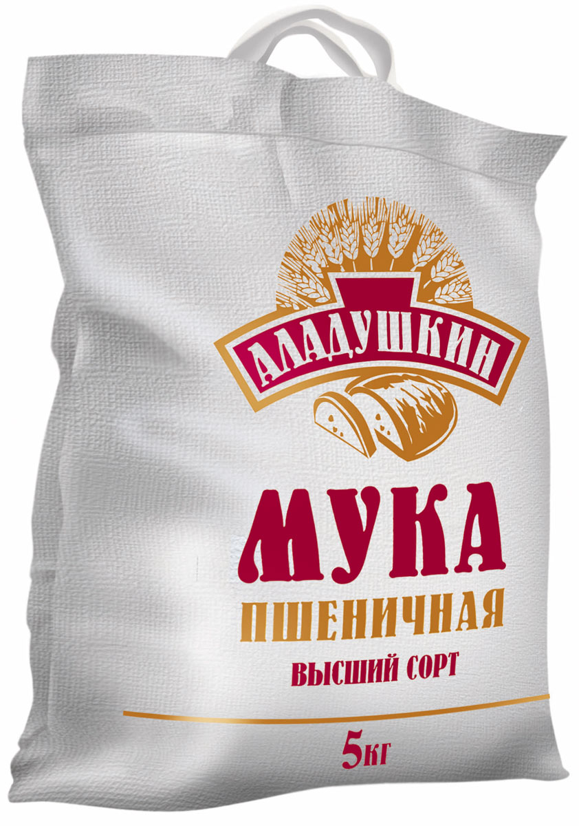 Аладушкин Мука пшеничная высший сорт, 5 кг три хозяйки мука высший сорт 2 кг