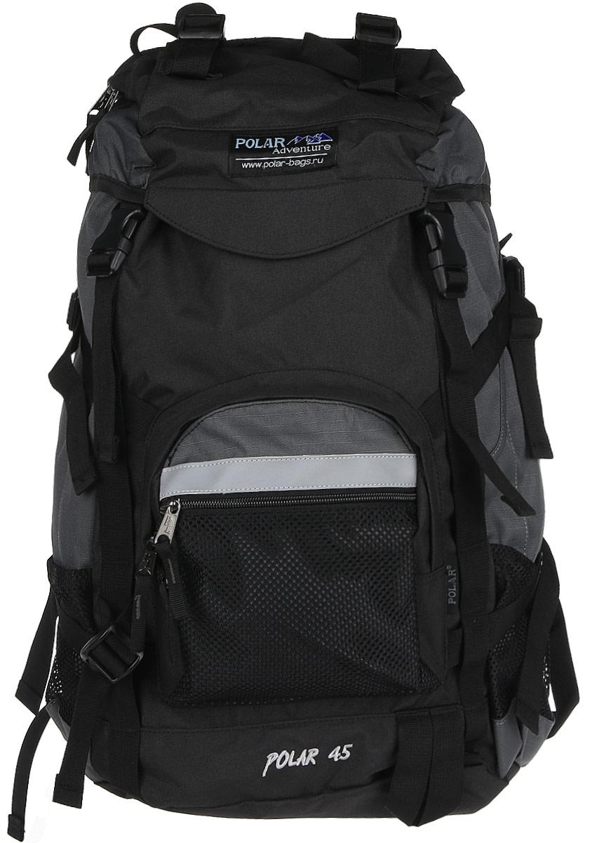 Рюкзак туристический Polar, цвет: серый, 45 л. П301-06П301-06Фирменный туристический рюкзак фирмы Polar, Материал – полиэстер с водоотталкивающей пропиткой. Жесткая спинка с металлическим каркасом. Удобный лямки повторяющие форму плеча уменьшают нагрузку на спину и делают этот рюкзак очень удобным при эксплуатации. Так же предусмотрены грудная и поясничная стяжки лямок. На поясничной стяжке с левой стороны небольшой карман на молнии для мелких предметов. Одно отделение. Карман с органайзером и карманом из трикотажной сетки на молнии внутри. Карман из трикотажной сетки на молнии для мелких предметов. Два боковых кармана из основной ткани. Клапан с двумя карманами на молнии. Стяжки для регулирования объема. Этот рюкзак идеально подойдет для недолговременных походов и позволит Вам взять с собой все необходимое.Что взять с собой в поход?. Статья OZON Гид