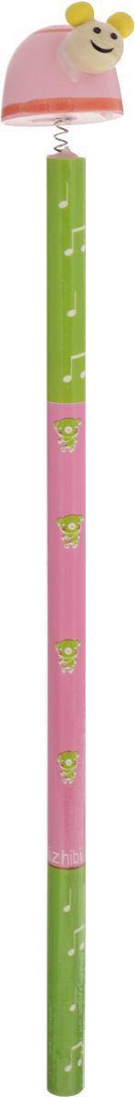 Карамба Карандаш Улитка цвет розовый зеленый002319_розовый, зеленыйЭтот забавный чернографитный карандаш легко найдет себе место на вашем столе. Деревянный корпус окрашен в яркие цвета с орнаментом и декорирован фигуркой в виде улитки, крепящейся при помощи пружины. Длина карандаша (без фигурки): 17,7 см.Размер фигурки: 3 см х 5 см.