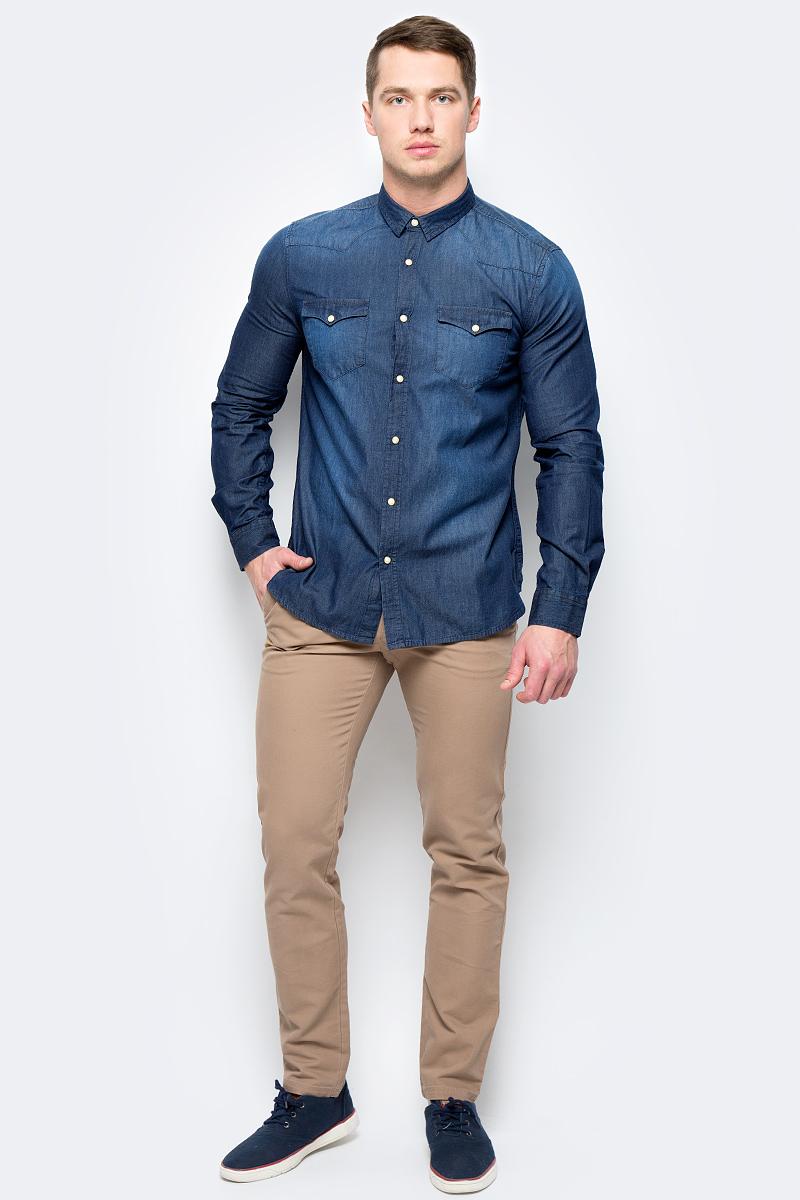 Рубашка мужская United Colors of Benetton, цвет: синий. 5LF55QBW8_901. Размер S (46/48)5LF55QBW8_901Рубашка мужская United Colors of Benetton выполнена из хлопка. Модель с отложным воротником застегивается кнопки.