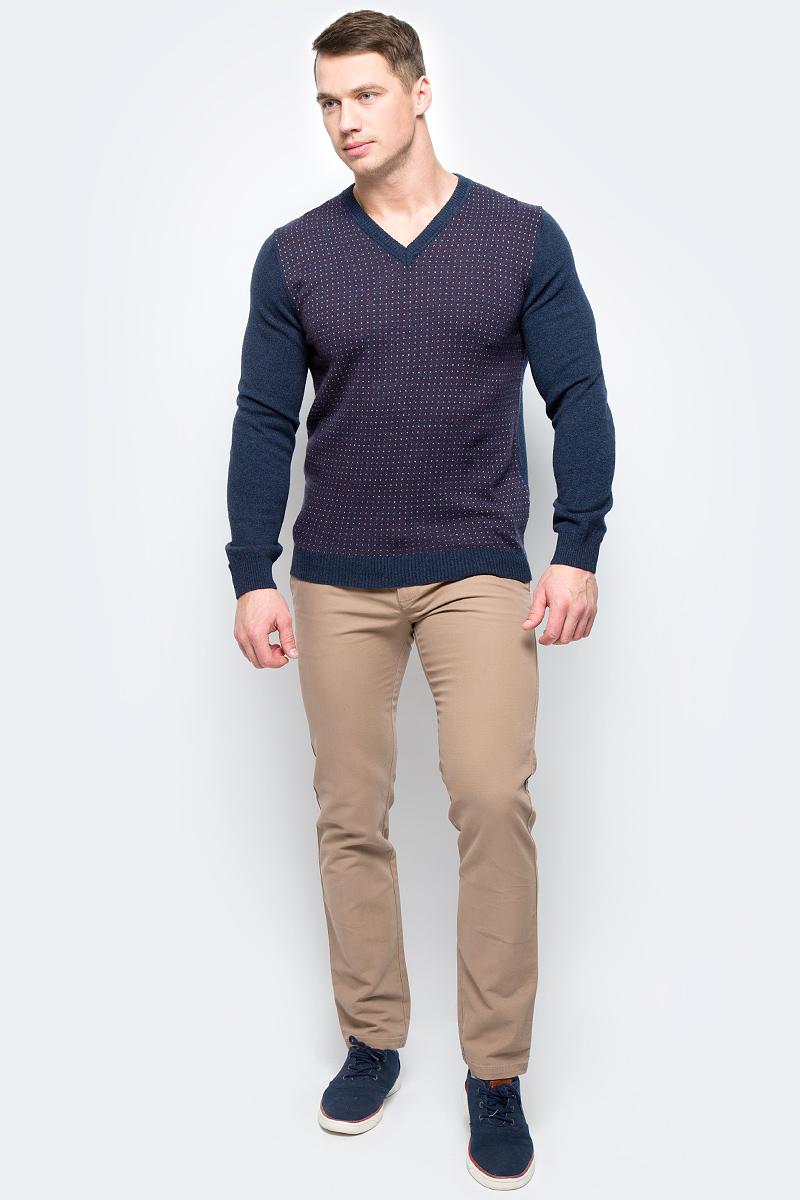 Пуловер мужской United Colors of Benetton, цвет: синий. 1132K4345_901. Размер XXL (54/56)1132K4345_901Пуловер мужской United Colors of Benetton выполнен из качественного материала. Модель с V-образным вырезом горловины и длинными рукавами.